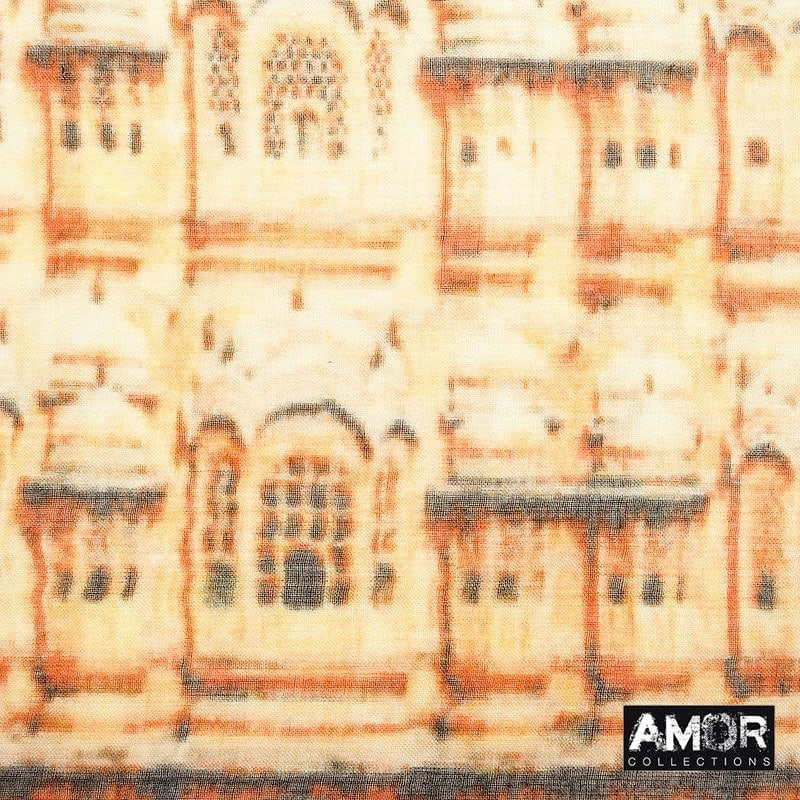 Scarf with digital print of the Hawa Mahal Palace.