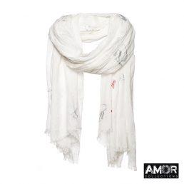 Witte sjaal met Zilveren 'R' opdruk