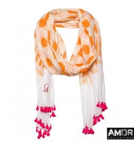 sjaal oranje print en pompoms katoen