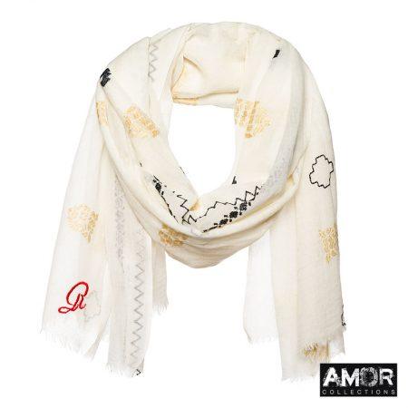 geborduurde sjaal ecru beige