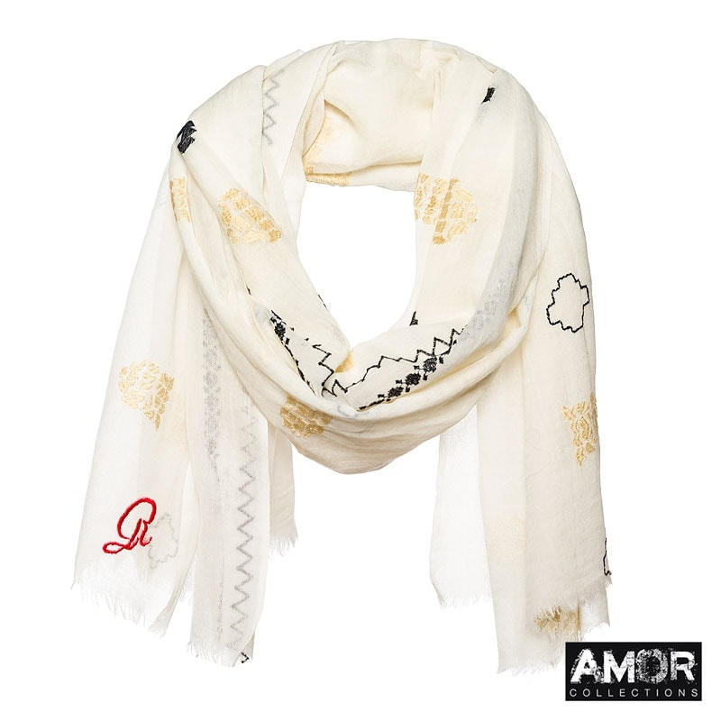 Embroidered scarf with a soft hand feel. Colour: Ecru / Beige.