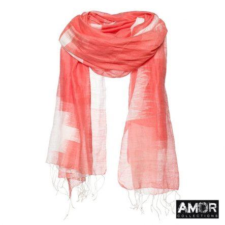 Perzik sjaal met ingeweven Ikat print
