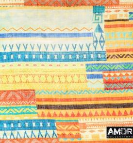 Detial foto van deze linnen met modaal shawl heeft een Aztec printje in de kleur geel.