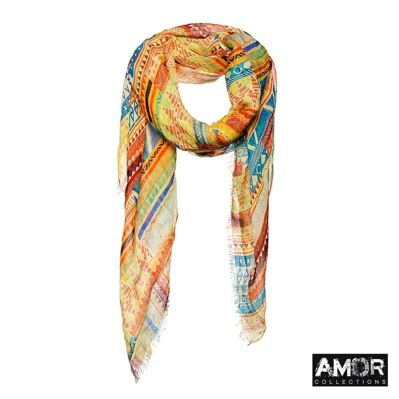 This scarf has a Aztec print in beautiful summer colours! Colours: Yellow.