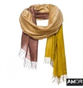 Zijde en katoenen sjaal met Tie Dye effect.