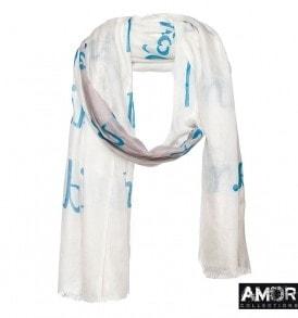 Deze zomerse shawl met 'I am a limited edition' print is 100% modaal en leuk te combineren bij denim of aarde tinten.