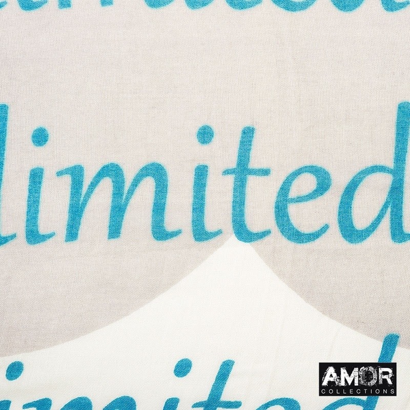 This scarf with 'I am a limited edition' print is 100% modal and great in combination with denim or earth tones.