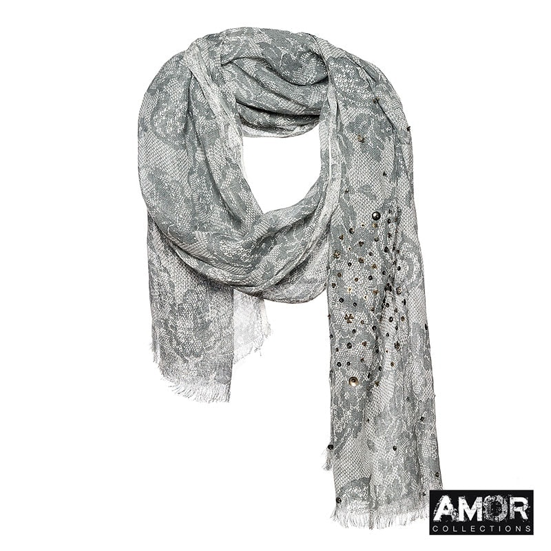 Linen scarf with lace print, studs and sequins in a elegant black and white combination.