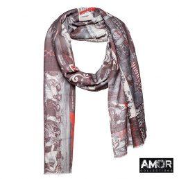 AM507 grey red sjaal