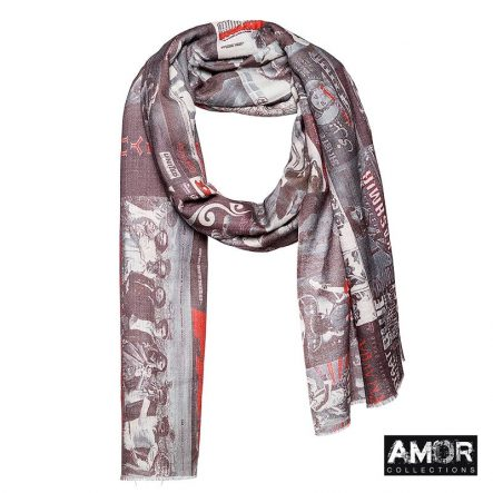 AM507 grey red sjaal