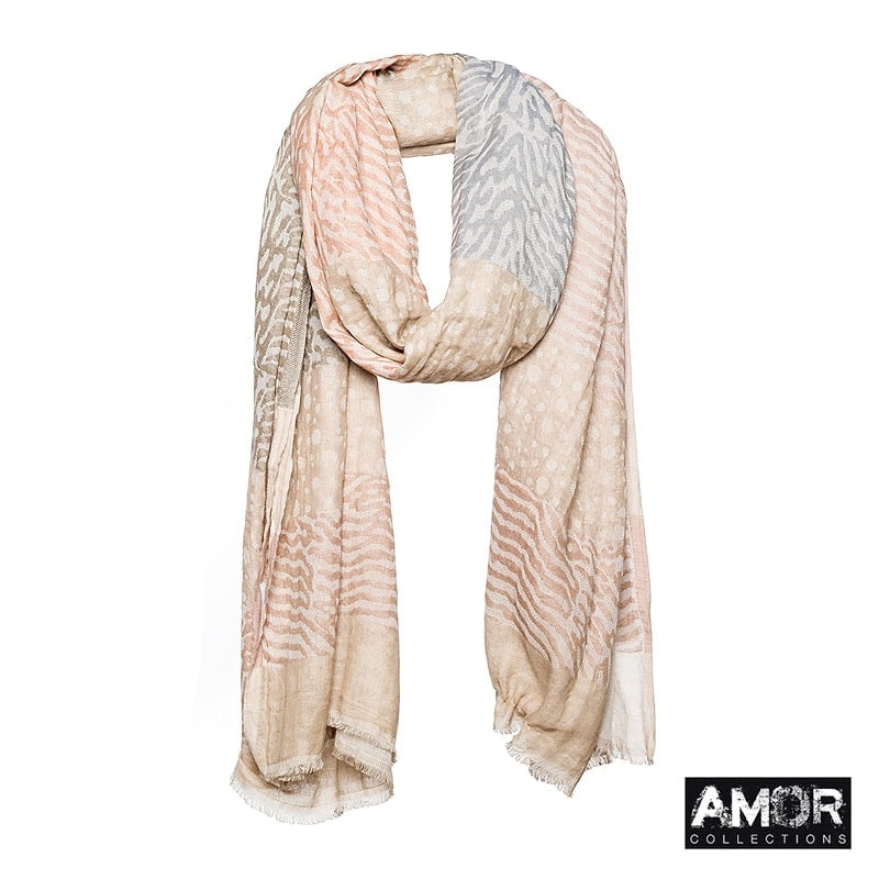 A cotton woven scarf with stripes and dots. Colours: Beige.