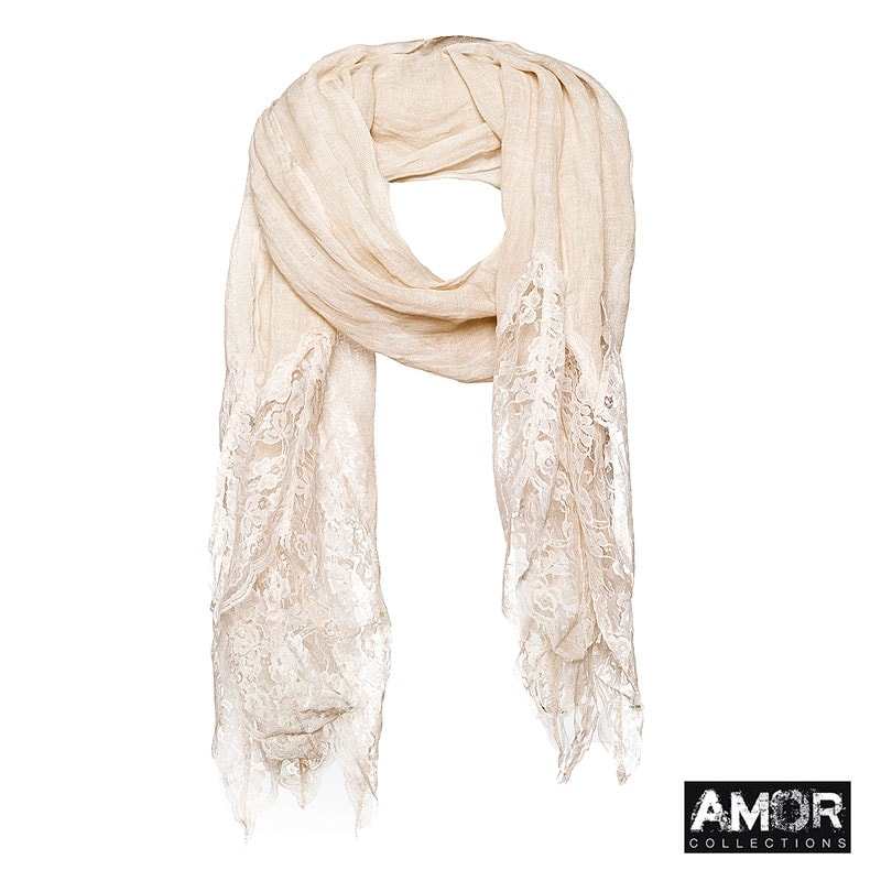 A linen scarf with lace. Colour peach.