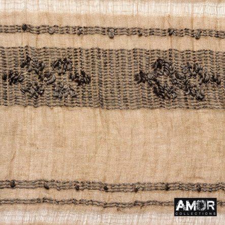 Katoen- linnen sjaal met tribal borduursel