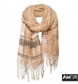 Een mooie sjaal van linnen/katoen met tribal borduursel.