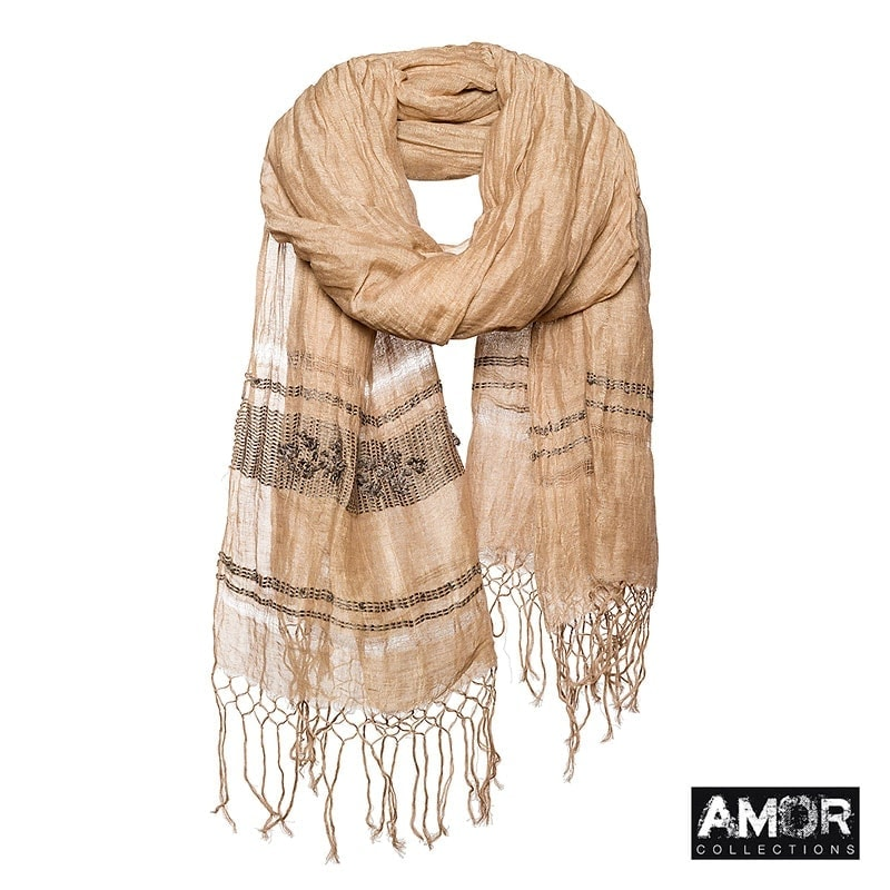 Scarf with Tribal embroidery. Colour: Taupe.