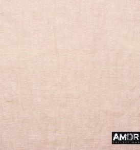 Detail foto van de modaal/linnen sjaal parels aan de franjes in de kleur zalm.