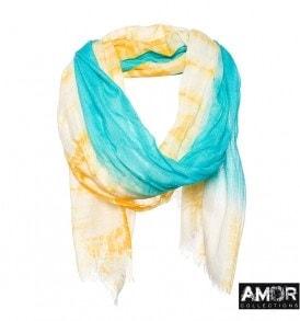 Een vrolijke zomer sjaal van zijde en wol met tie dye.