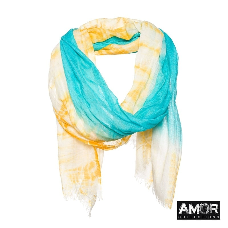 Scarf with Tie Dye effect. Colour: aqua/yellow.