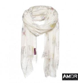 Zijde en wollen sjaal wit