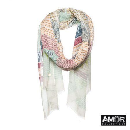 multi print sjaal wol zijde