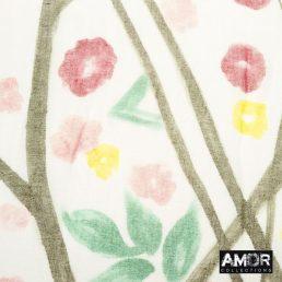 Witte sjaal met bloemenprint