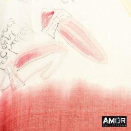 Rode sjaal modaal met print
