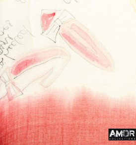 Detail foto van deze prachtige kwaliteit modaal met geprinte mode accessoires en kleding in de kleur rood/wit.