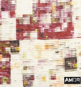 Detail foto van een sublieme kwaliteit modaal en cashmere met mooie multi pixel print.