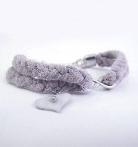 Gevlochten stoffen armband - Beige