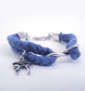 Gevlochten stoffen armband - Blauw