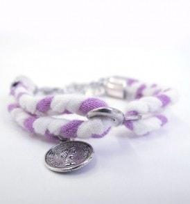 Gevlochten stoffen armband - Paars/ecru