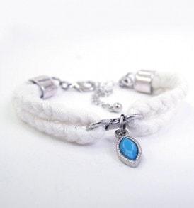 Gevlochten stoffen armband - Wit