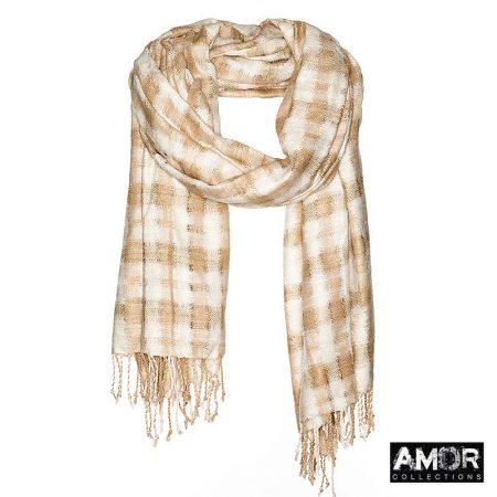 AM744 een zijde sjaal met handgeweven checks.
