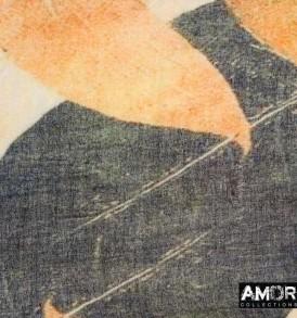 Detail foto van AM747 beige, wol met leaf print.