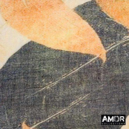 beige sjaal wol met leaf print