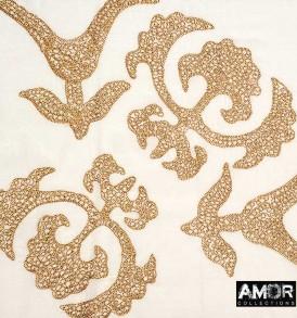 Detail foto van AM749 koper, wol met fleur de lys print.