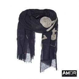 100% Aqua wol sjaal met mohair poppetjes
