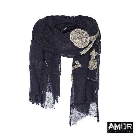 Zwarte sjaal aqua wol met borduursel