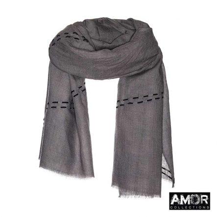 Wollen sjaal met suede borduursel