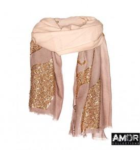 AM 759 een dip dye sjaal met pailletten in de vorm van rook.