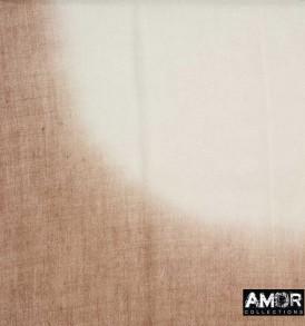 Detail foto taupe, dip dye sjaal van aqua wol