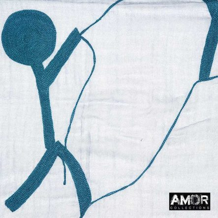 blauwe sjaal aqua wol met borduursel