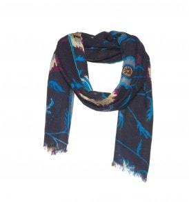 Een wollen sjaal met een bloemen print in de kleur bruin.