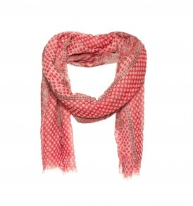 Een mooie sjaal met ingeweven bolletjes en bloemen patroon in de kleur rood.