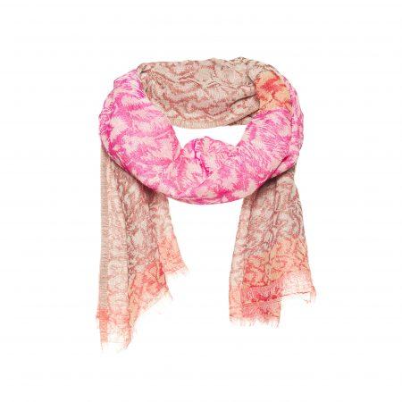 sjaal met grof ingeweven bloemen