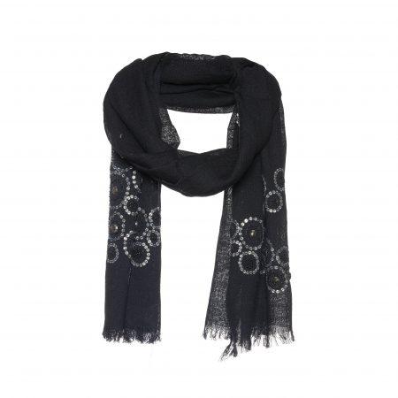 zwarte sjaal pailletten en studs bloemen