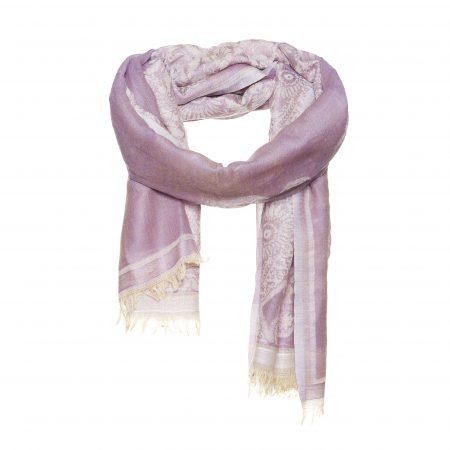 Ingeweven bloemen paars sjaal