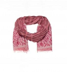 Ingeweven bladmotief roze sjaal