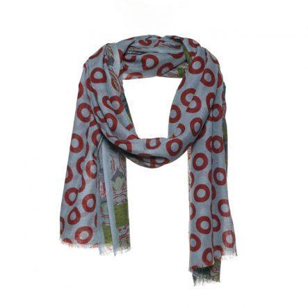 blauwe wol zijde sjaal