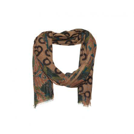 bruine wol zijde sjaal